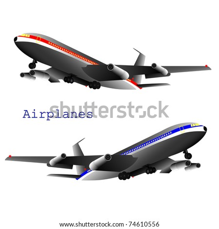 Two Vector Jets isolated on a white background, eps10
