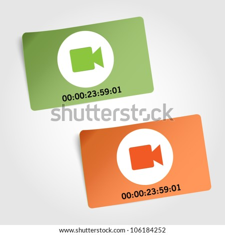 Two vector labels - symbol of camera with time