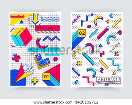 Two vector memphis posters. Abstract 90s trends elements with multicolored simple geometric shapes. Shapes with triangles, circles, lines