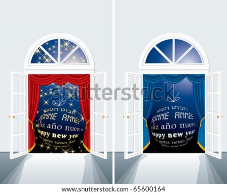 two vector new year cards with blue ball on window