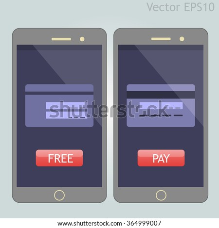 Two vector phones with buttons and creditcard