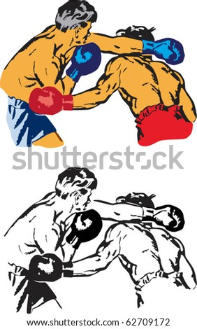 Two vector pic black and white and color; fighting boxing