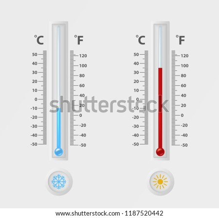 Two vector realistic 3d celsius and fahrenheit meteorology, weather thermometer sign icon set closeup isolated on white background. Clip art, design template for graphics. Thermometers with different
