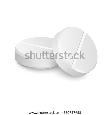 Two vector realistic medical pills isolated on white background.
