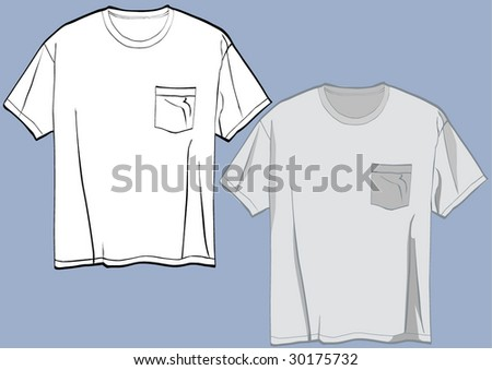 Two vector tee shirts templates with easily editable pockets