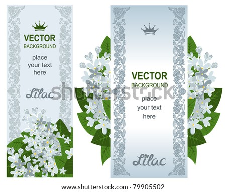 Two vertical banners with white lilacs. Detailed vector. #79905502