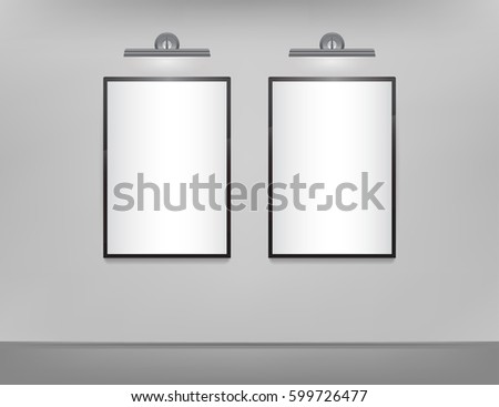 White canvas on wall mockup design template download free vector two vertical white canvas with black frame and backlight on a gray wall template for maxwellsz