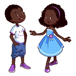 Two very cute african american kids. Boy and girl in blue dress. Vector illustration on a white background.