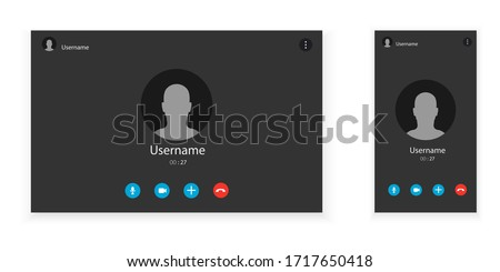 Two video call screens. Set of computer and mobile screens. Application for communication via internet. Vector minimalistic illustration.