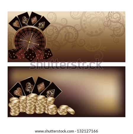 Two vintage casino banners, vector illustration