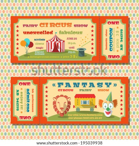 Two vintage circus fairy show tent tickets templates with clown and exotic animals vector illustration