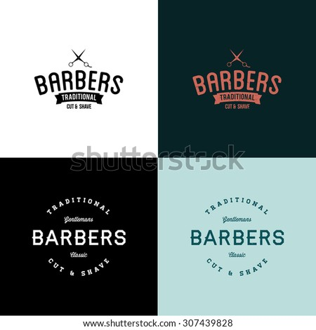 two vintage style vector barber