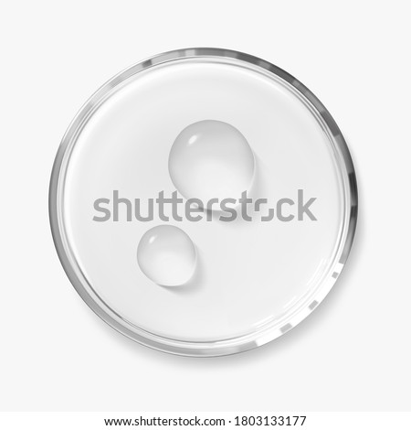 Two water drops on petri dish isolated realistic vector illustration, top view. Concept laboratory tests and research. Transparent chemistry glassware