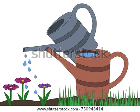 two watering can gray orange on