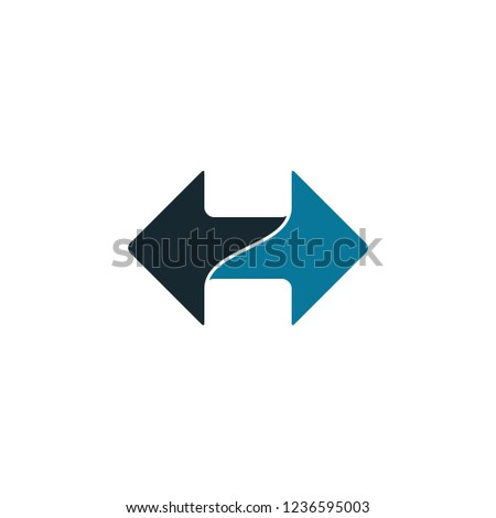 two way arrow icon logo template