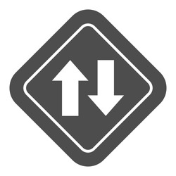 Two way traffic solid icon, Navigation concept, traffic sign on white background, Two way road icon in glyph style for mobile concept and web design. Vector graphics.