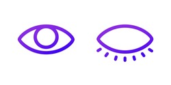 Two web icons. Open and closed eye. Purple gradient.