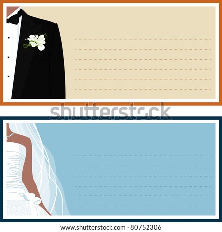 Two wedding banner with a bride and a groom.