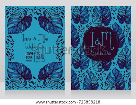 Two wedding cards with monstera leaves, blue color, vector illustration