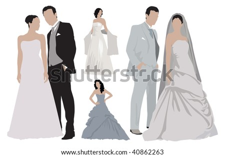 stock vector Two wedding couples and separate more women dressed in