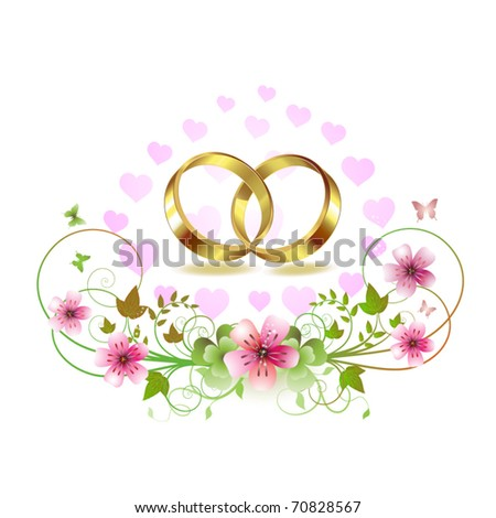 stock vector Two wedding ring with hearts and decorated flowers isolated