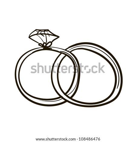 Two Wedding Rings. A Childrenu0027s Sketch #108486476