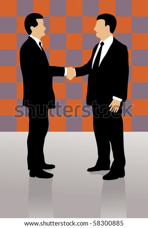Two well dressed business men shaking hands and greeting each other, on colorful checkerboard background.