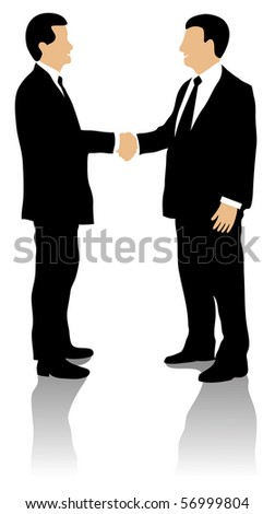 Two well dressed business men shaking hands and greeting each other, on white background.