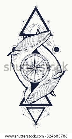 Two whales and rose compass tattoo geometric style. Adventure, travel, outdoors, meditation symbol. Whales tattoo for hipsters, travelers. Two whale lovers tattoo, t-shirt design, boho style.