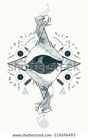 Two whales in sea wind rose compass mystical tattoo vector. Japanese carp in water tattoo. Travel, adventure, outdoors, tattoo symbol. Whale tattoo for hipsters, travelers. Storm at sea marine tattoo