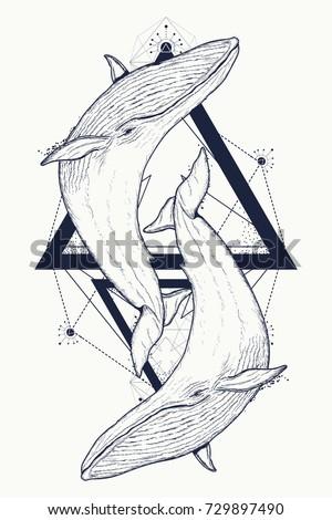 two whales tattoo geometric