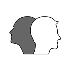 Two white and black head silhouettes  background. Psychology, diversity, tolerance and opposites concept.
