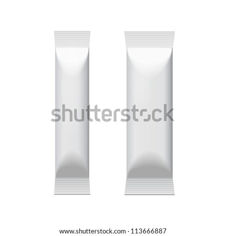 Two White Blank Foil Packaging Coffee, Salt, Pepper Or Spices Stick Plastic Pack Ready For Your Design. Snack Product Packing Vector EPS10