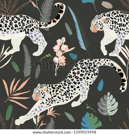 two white leopards on a black