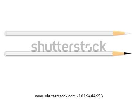two white pencil on white