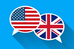 Two white speech bubbles with American and Great britain flags. English language conceptual illustration