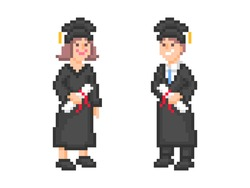 Two white students wearing black academic dress and square cap and holding diplomas on graduation day, pixel art character set isolated on white background. Old school vintage retro 2d game graphics.