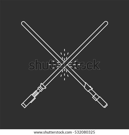 Two white swords on black background.