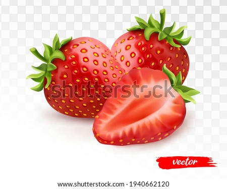Two whole strawberries and half of strawberry on transparent white background. 3d realistic vector illustration of strawberry.