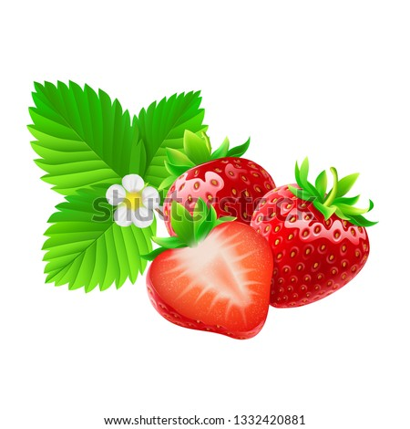 two whole strawberries and