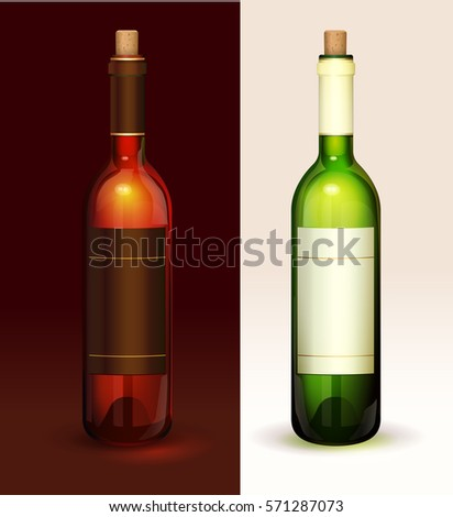 Two wine bottles with label. Vector realistic
