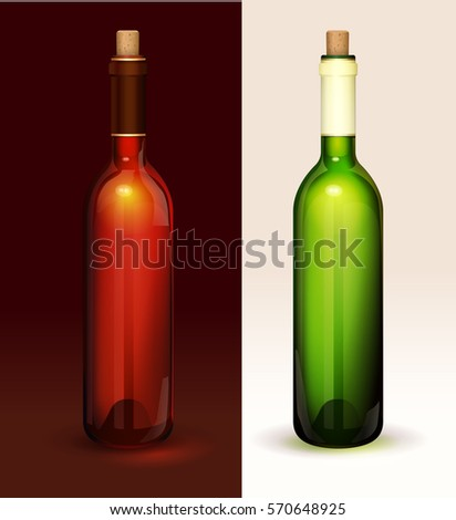 Two wine bottles without label, red wine, white wine. Vector realistic