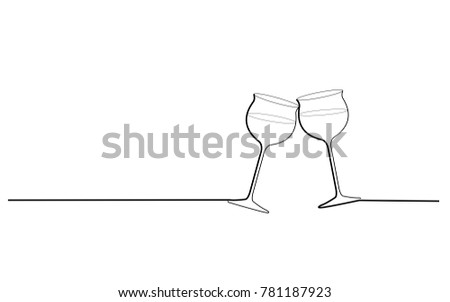 Two wine glasses cheers isolated on white background. For web site, poster, placard, party card and ad. Useful for advertisment, marketing and advert. Creative modern concept, vector illustration