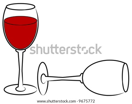 two wine glasses - one full and one empty - vector - stock vector