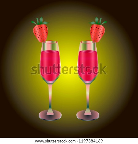 two wineglasses with drink and