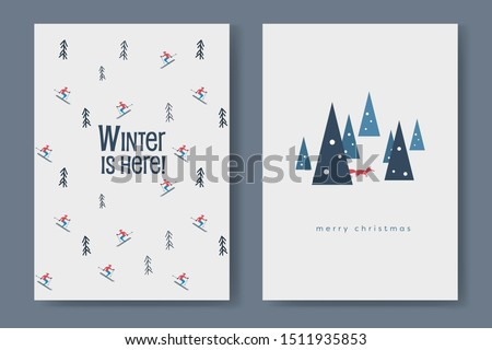 two winter card vector template