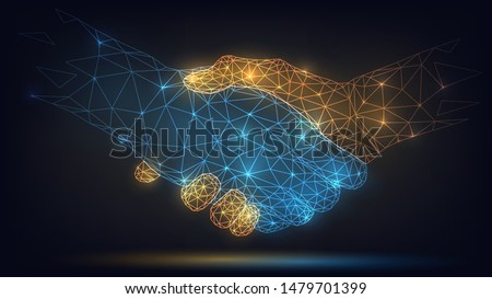 Two wire-frame glowing hands, handshake, technology, business, trust concept