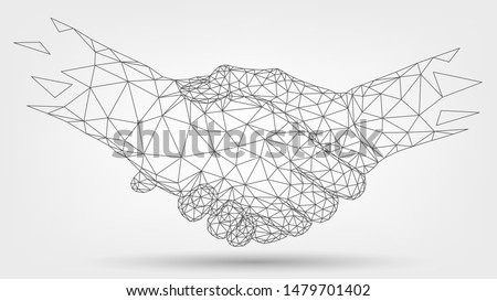 Two wire-frame hands, handshaking, partners, friendship or business partnership, technology, business, trust concept