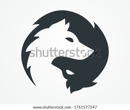 Two wolf logo. Black and white wolf vector logo.