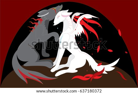 two wolves with wings gray and